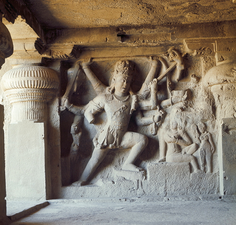 Shiva, destroyer of the elephants, Kailasa, Ellora, UNESCO World Heritage Site, Maharashtra state, India, Asia