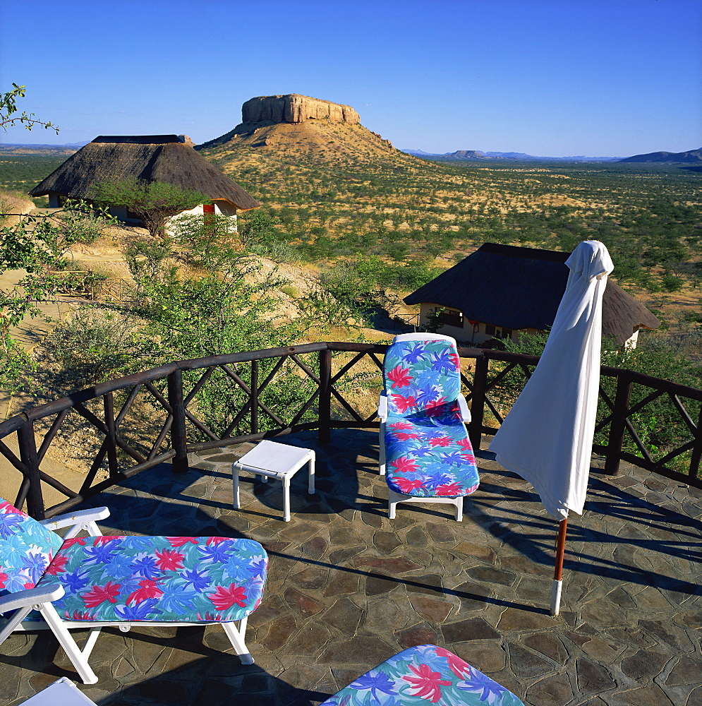 Pool terrace of the Vingerklip Safari Lodge, Damaraland, Namibia, Africa - 197-2250