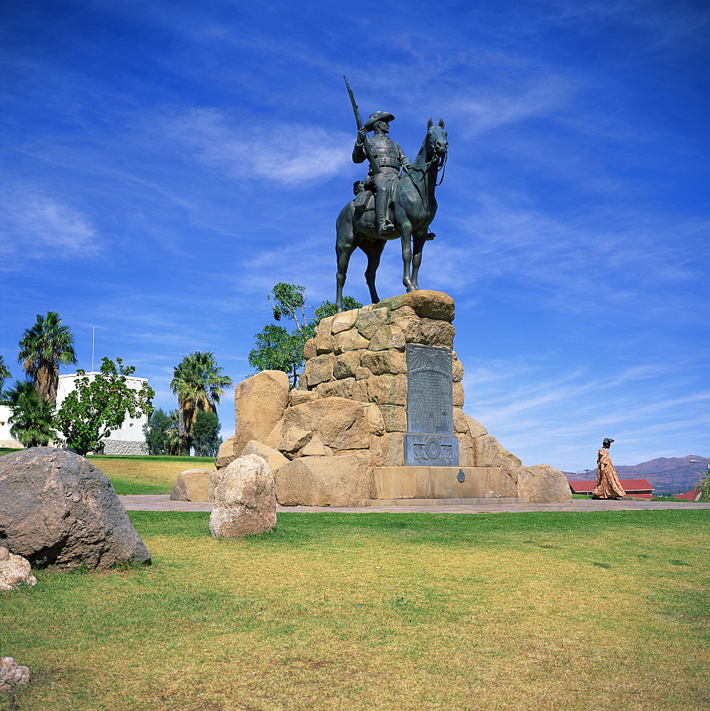The Rider Memorial in front of the Alte Feste (Old Fort), Windhoek, Namibia, Africa