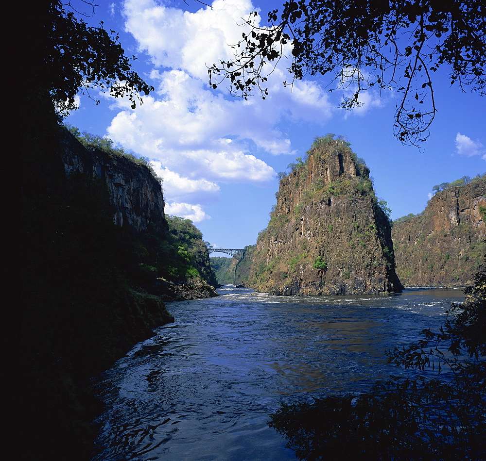 Zambezi River and bridge from bend at second and third gorges, Victoria Falls, Zimbabwe, Africa