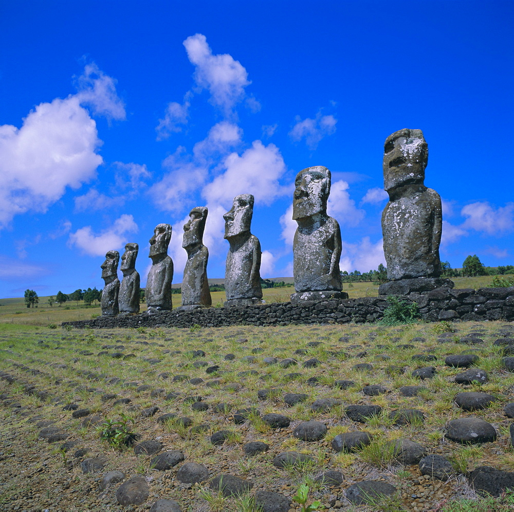 Ahu Akivi, unlike most statues these are inland and face the sea, Easter Island, Chile, Pacific