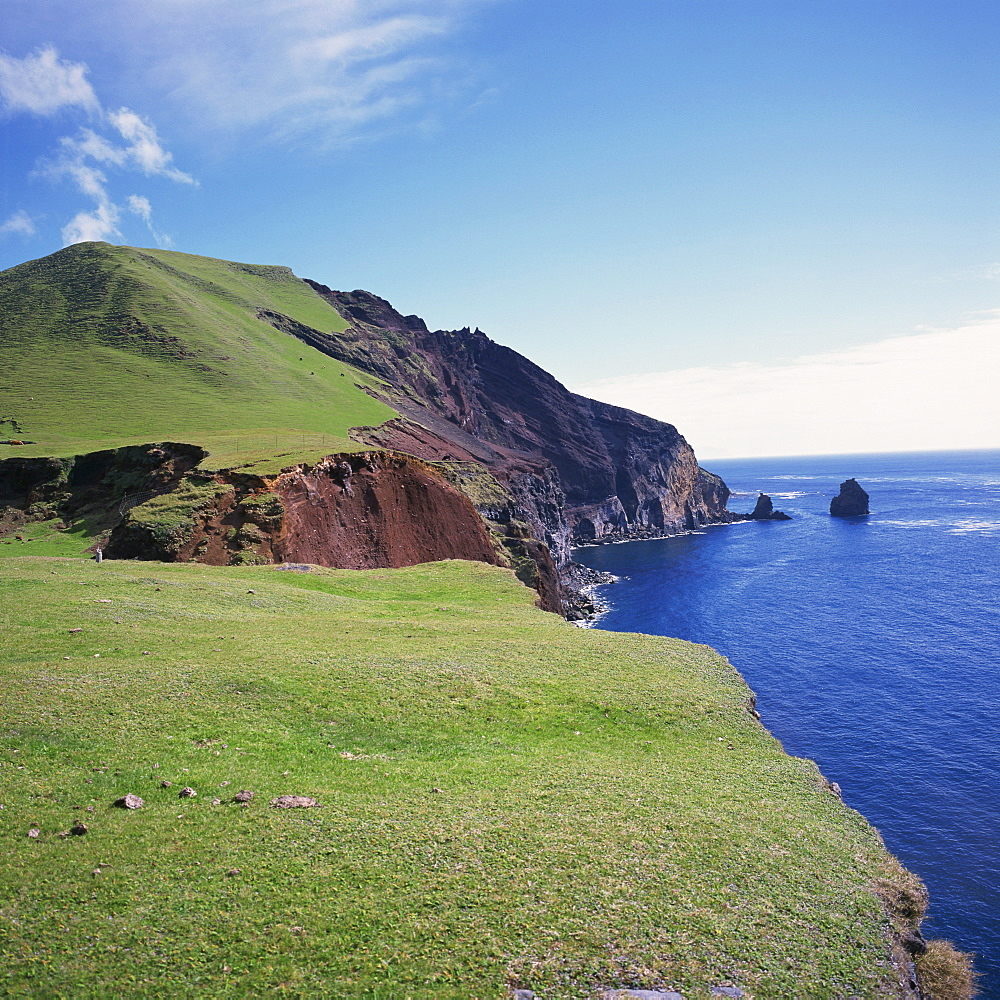 Grass topped cliffs along the north west coast between the settlement of Edinburgh and potato patches, on Tristan da Cunha, Mid Atlantic