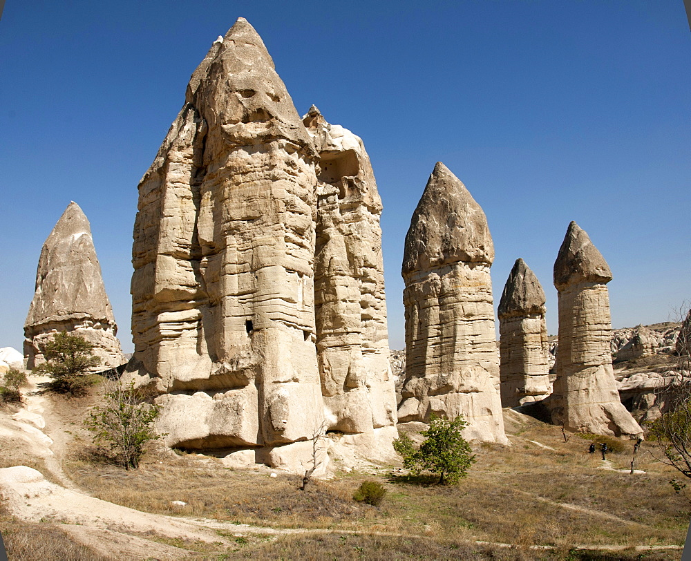 Natural pinnacles in volcanic ash, Zemi Valley, Goreme, UNESCO World Heritage Site, Cappadocia, Anatolia, Turkey, Asia Minor, Eurasia - 29-5361