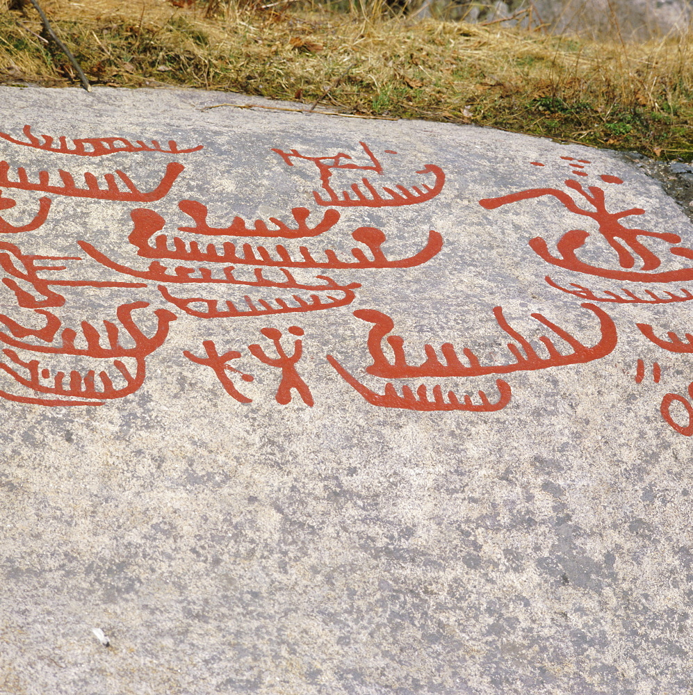 Ancient rock carvings from pre-Viking times, Ostfold near Halden, Norway, Scandinavia, Europe