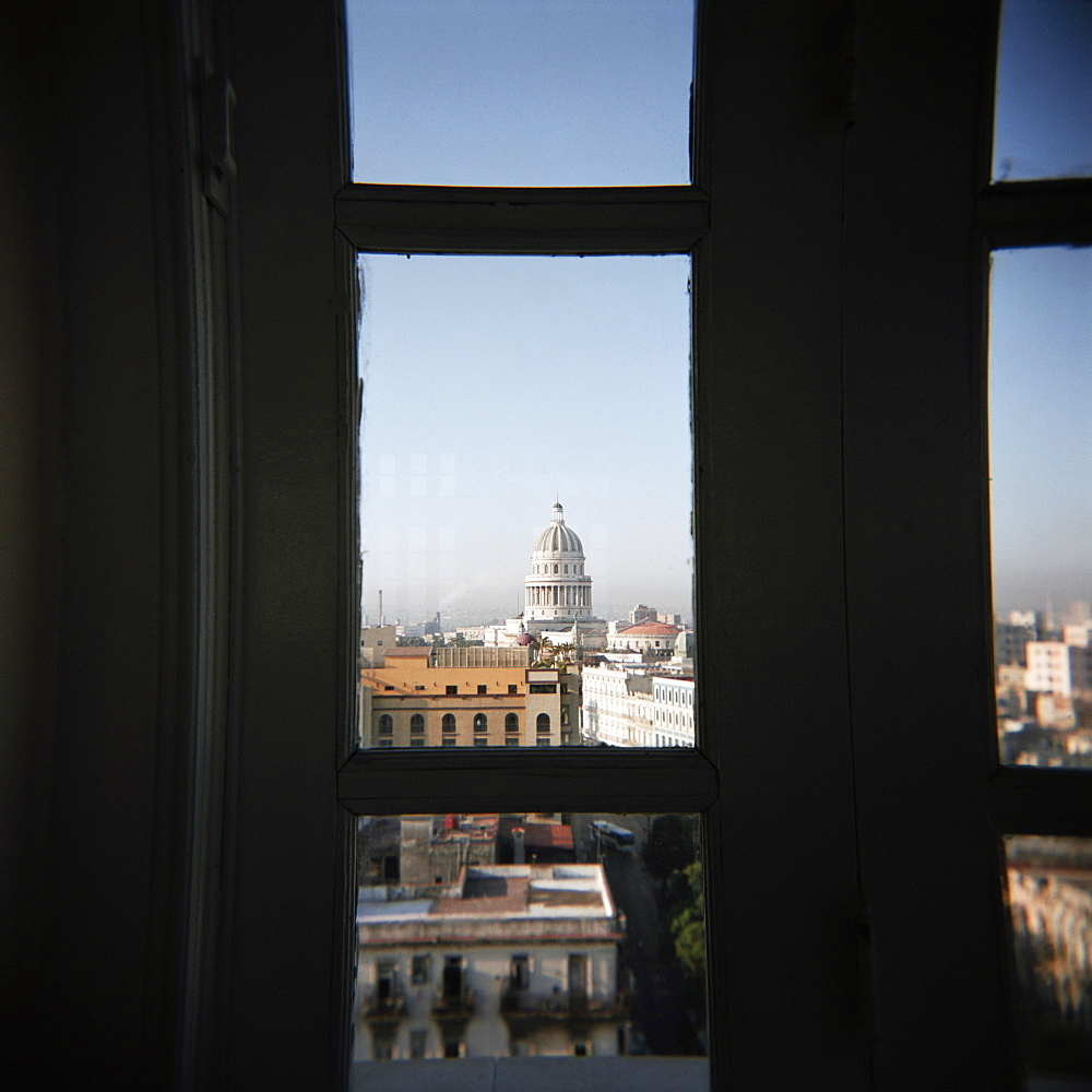 View of the Capitolio from the restaurant window of the Hotel Seville, Havana, Cuba, West Indies, Central America - 321-3992