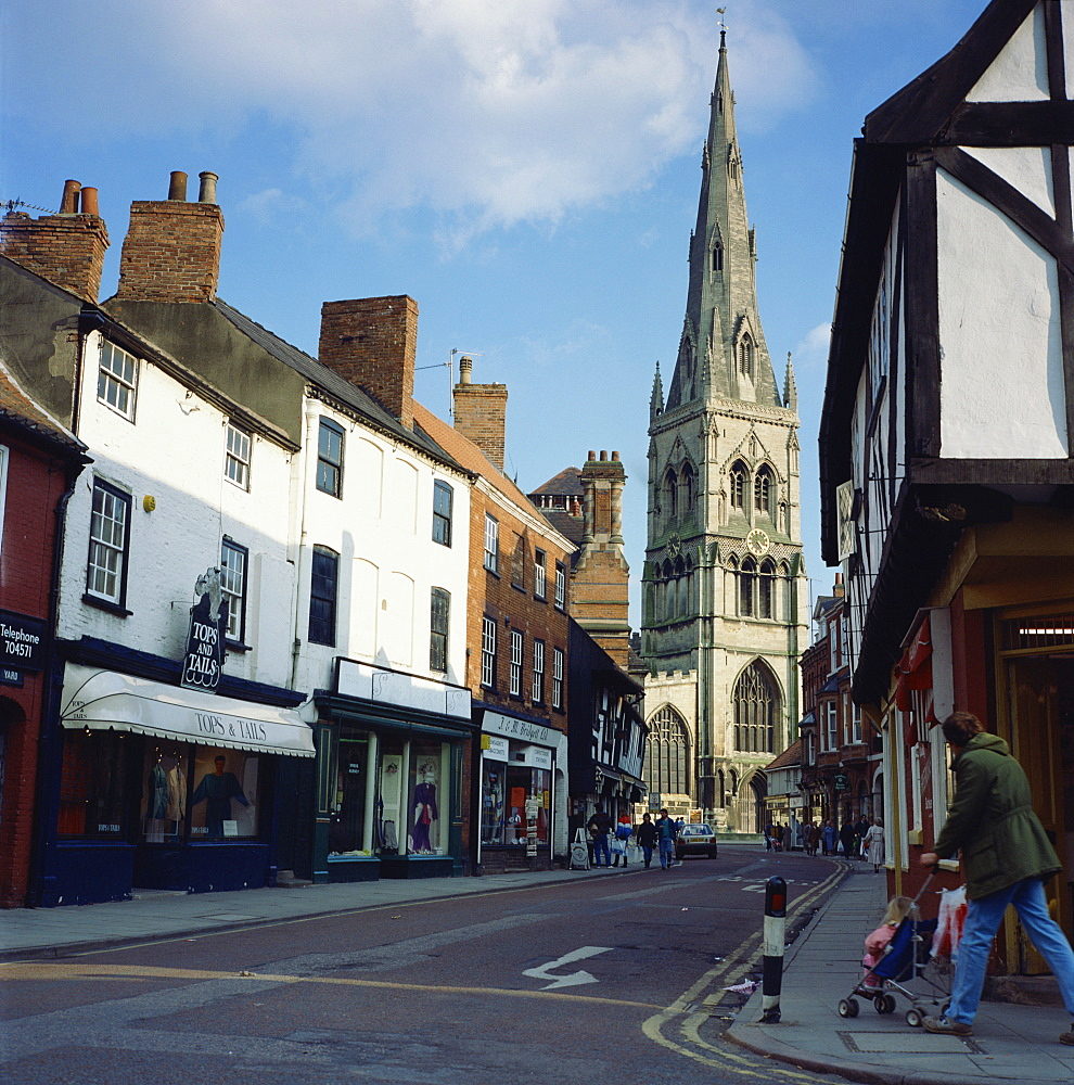 Parish church and shops, Newark, Nottinghamshire, England, United Kingdom, Europe - 36-307