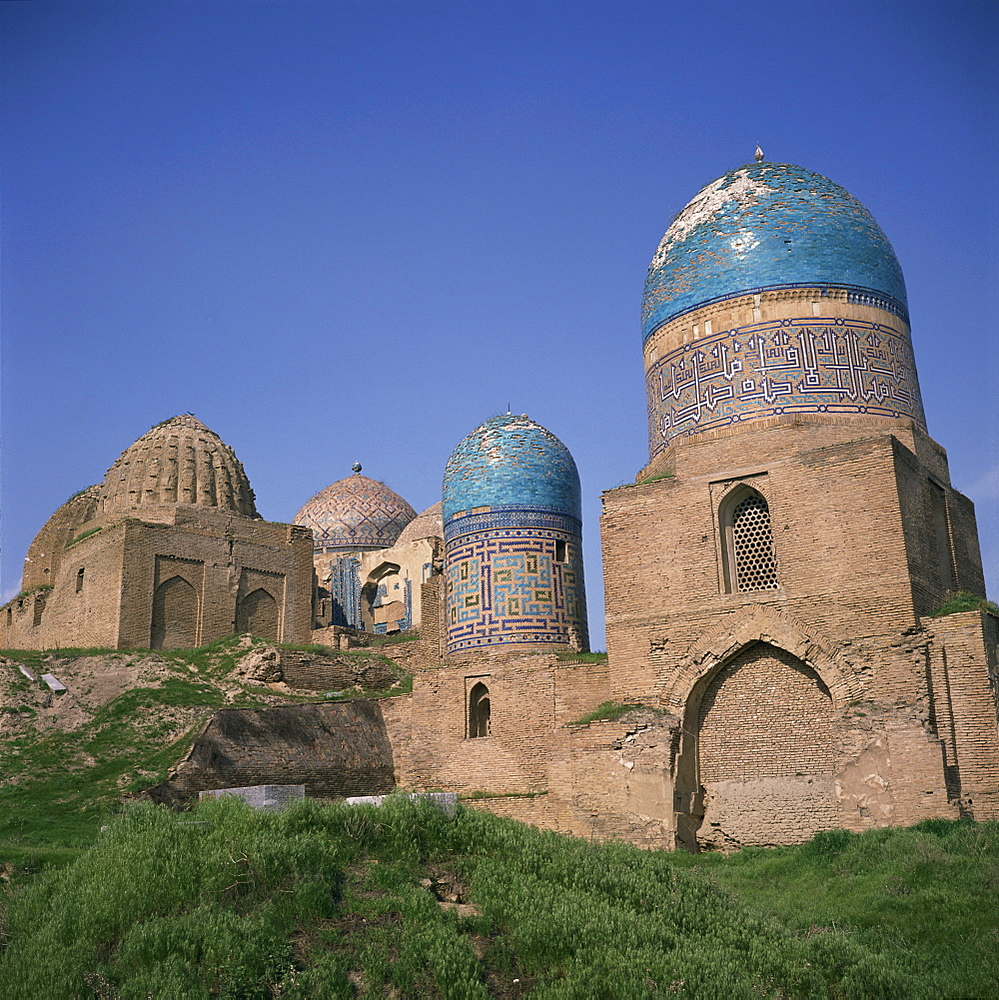 Buildings and domes of the Shah i Zinda mausoleums in Samarkand, Uzbekistan, Central Asia, Asia