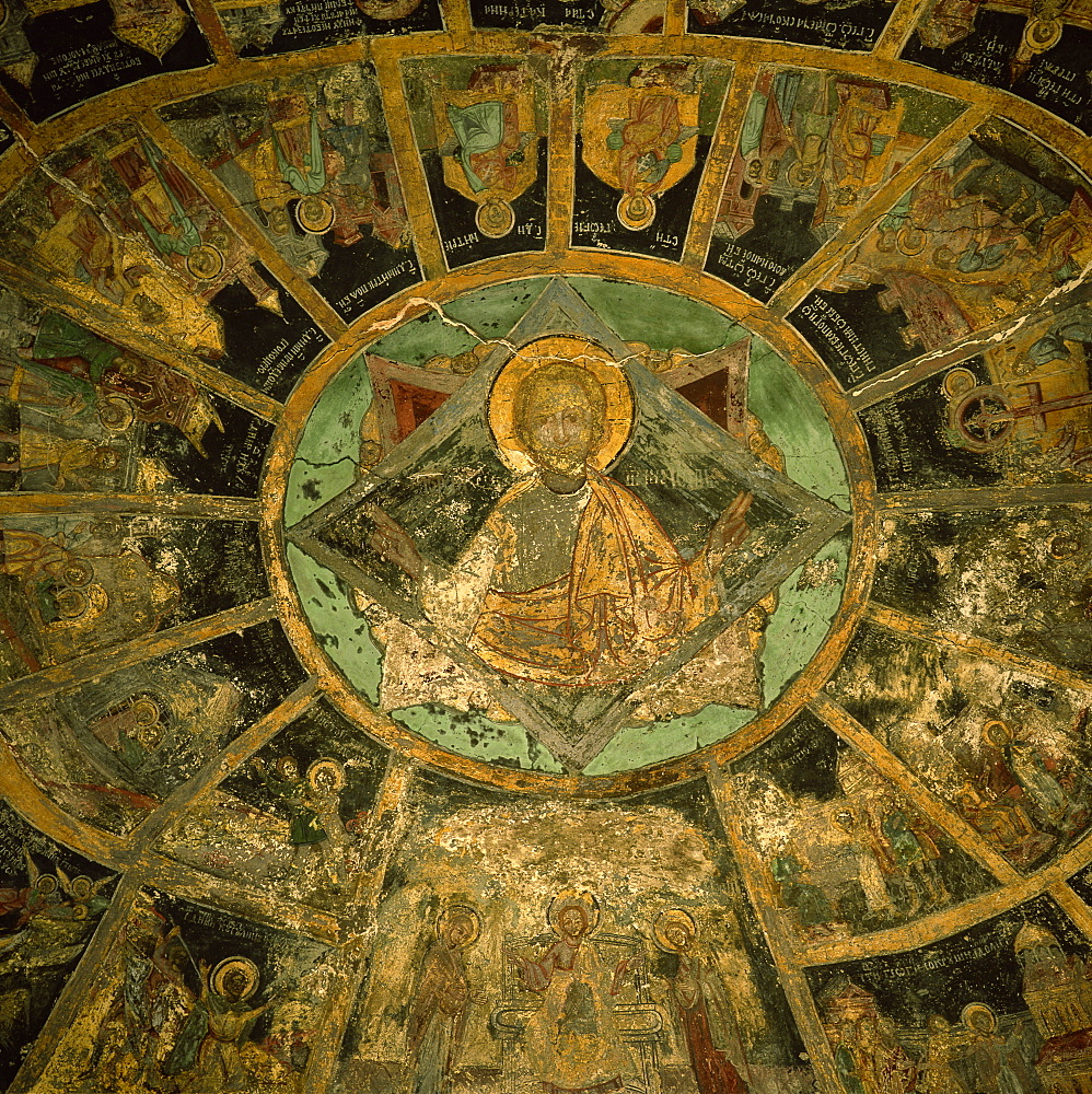 Frescoes by Pirvu Mutu, Dormition of Our Lady Church dating from 1695, Sinaia Monastery, Transylvania, Romania, Europe - 391-1677