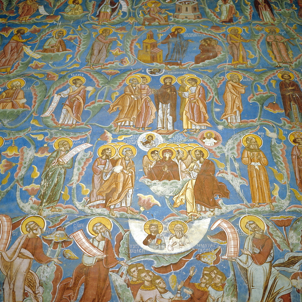 Fresco of Jesse's Tree, Old and New Testament figures, Moldovita Monastery Church, 1537, Moldavia, Romania