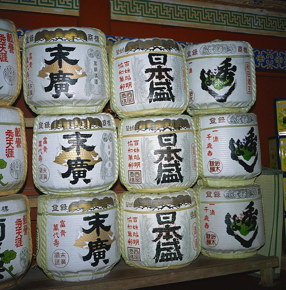 Sake drums, Tosho-gu Shrine, Nikko, Honshu, Japan, Asia - 391-5453