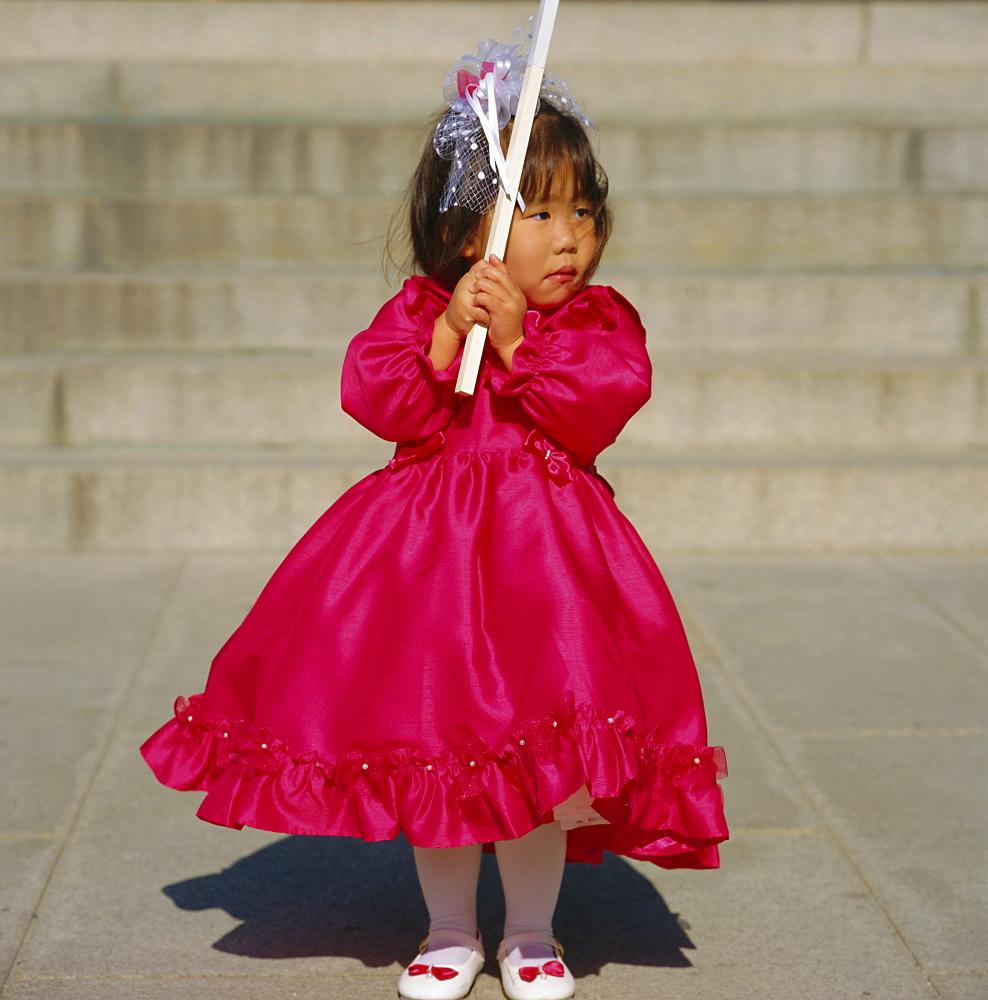 Girl at Shichi-go-san (3-5-7) festival, Meiji-jingu Shrine, Harajuku, Tokyo, Japan
