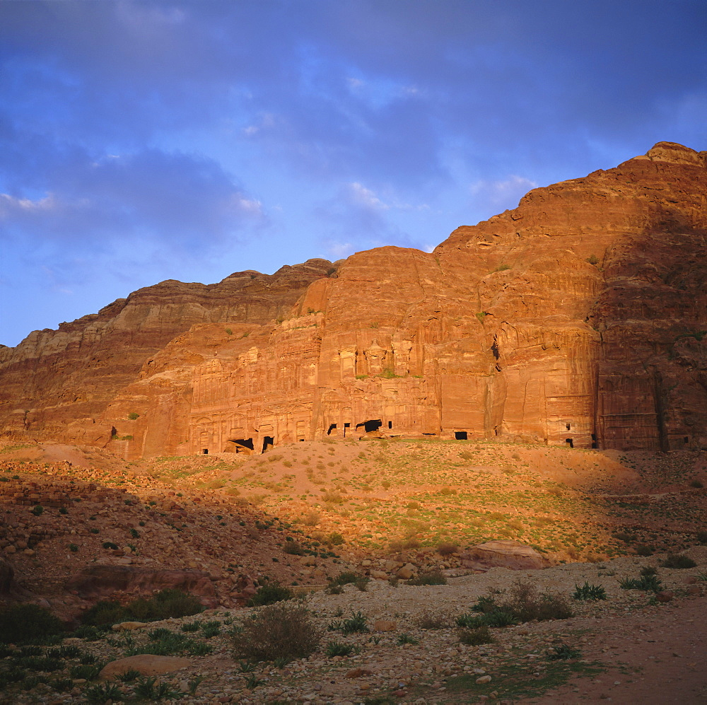 Nabatean Palace Tomb and Corinthian Tomb, 1st century AD, on the east cliff of Wadi Musa, Petra, Jordan