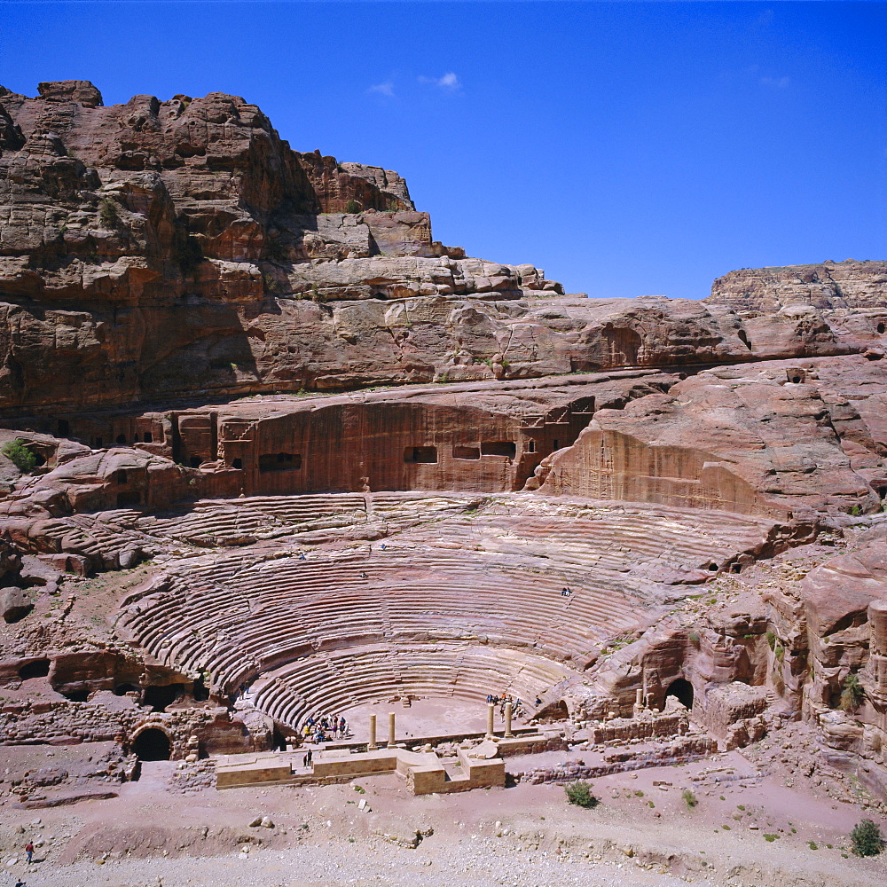 Main theatre, 1st century AD, carved into the solid rock, hellenistic style, Petra, Jordan, Middle East