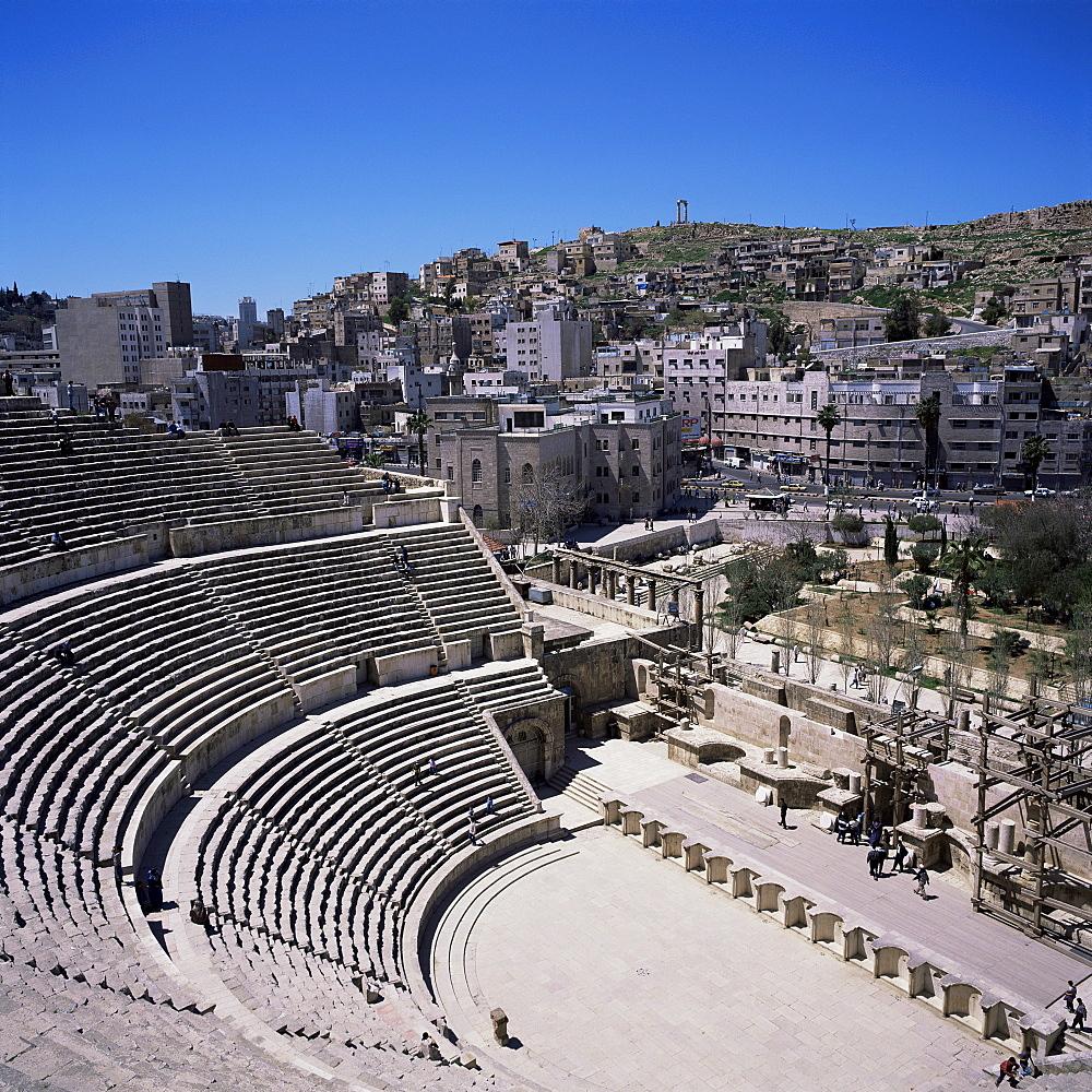 Roman theatre, 6000 seat capacity, completed in 169-177 AD, under Marcus Aurelius, Amman, Jordan, Middle East