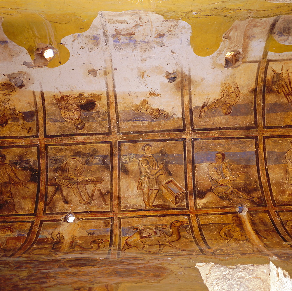 Frescos of artisans on side aisle ceiling, Qusayr Amra, Umayyad bath complex, Jordan, Middle EastBuilt in the desert by Caliph Walid I, 700-715, contains well preserved period frescos