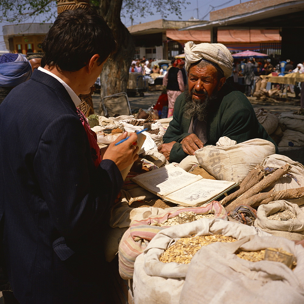 Uzbek spice and herbal medicine seller, Samarkand, Uzbekistan, Central Asia, Asia