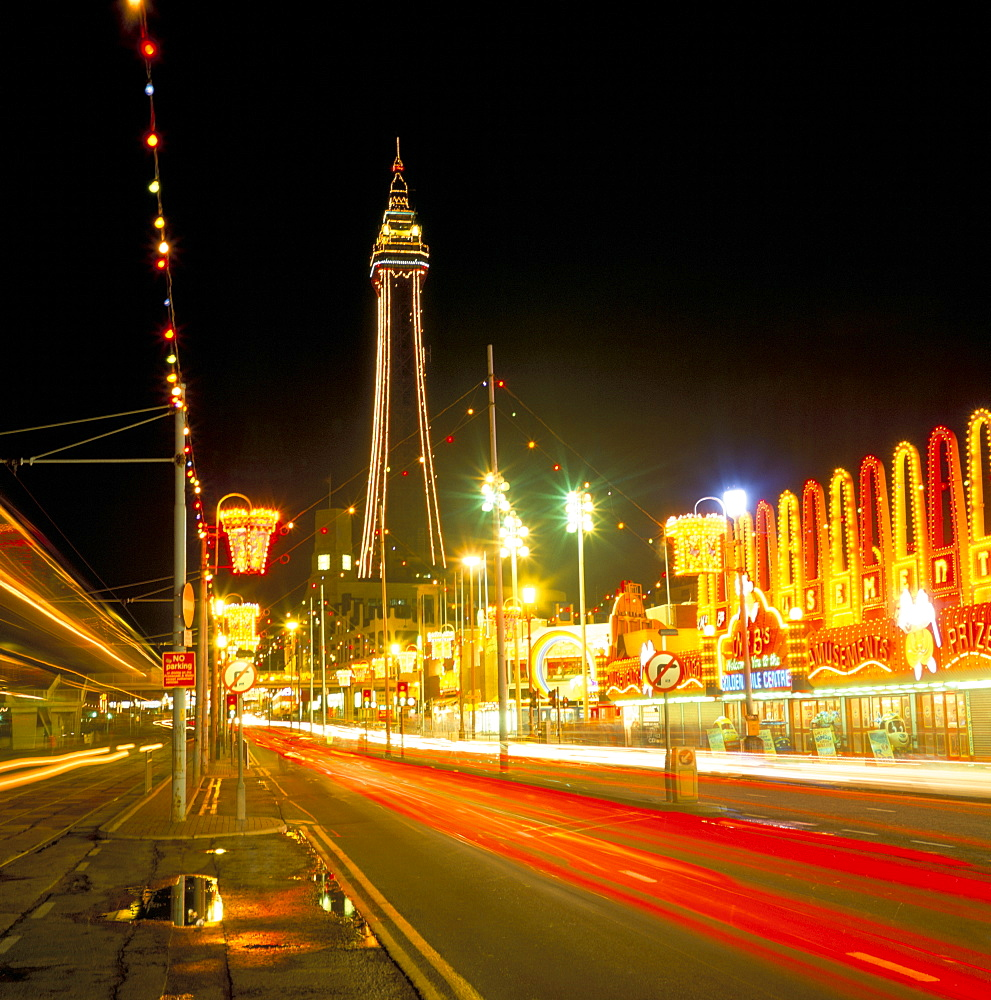 Blackpool Tower and illuminations, Blackpool, Lancashire, England, United Kingdom, Europe