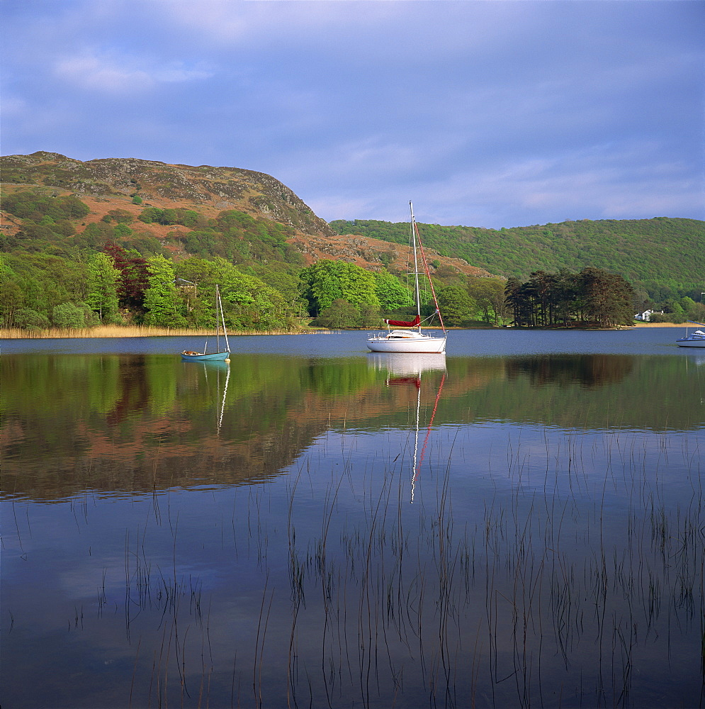 Boats and reflections, Coniston Water, Lake District National Park, Cumbria, England, United Kingdom, Europe - 485-557
