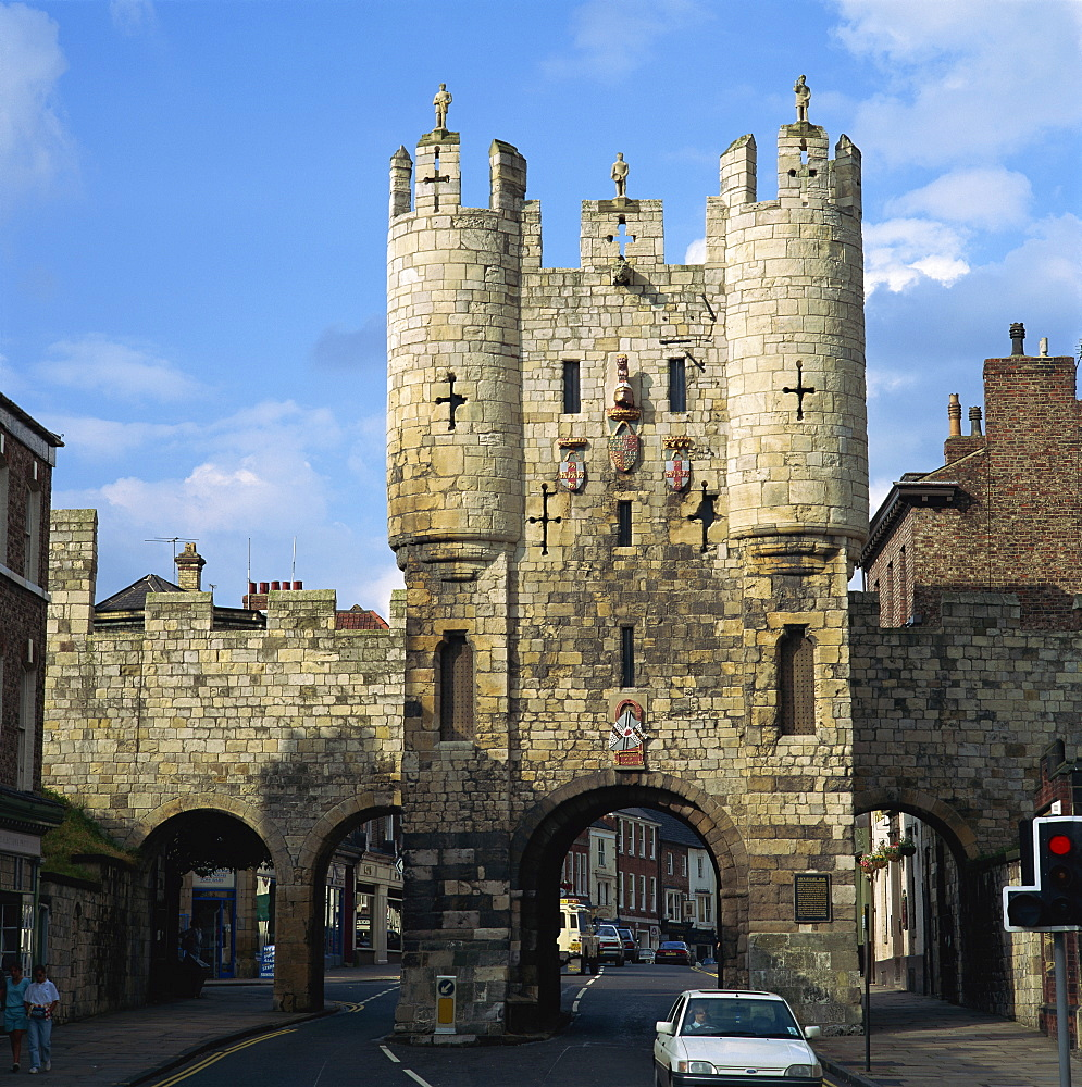 Micklegate Bar and City Wall, York, Yorkshire, England, United Kingdom, Europe - 485-814