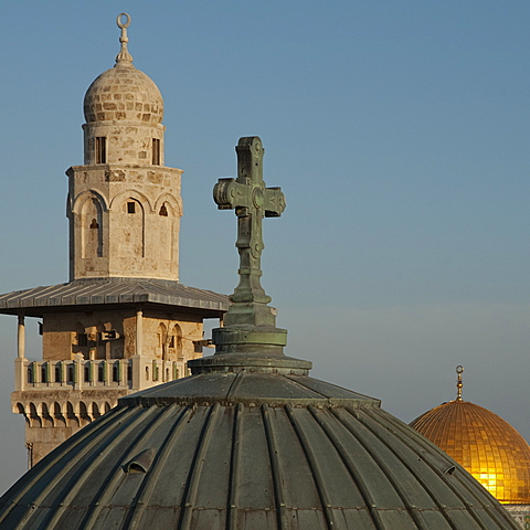Ecce Homo dome, minaret and Dome of the Rock, Jerusalem, Israel, Middle East