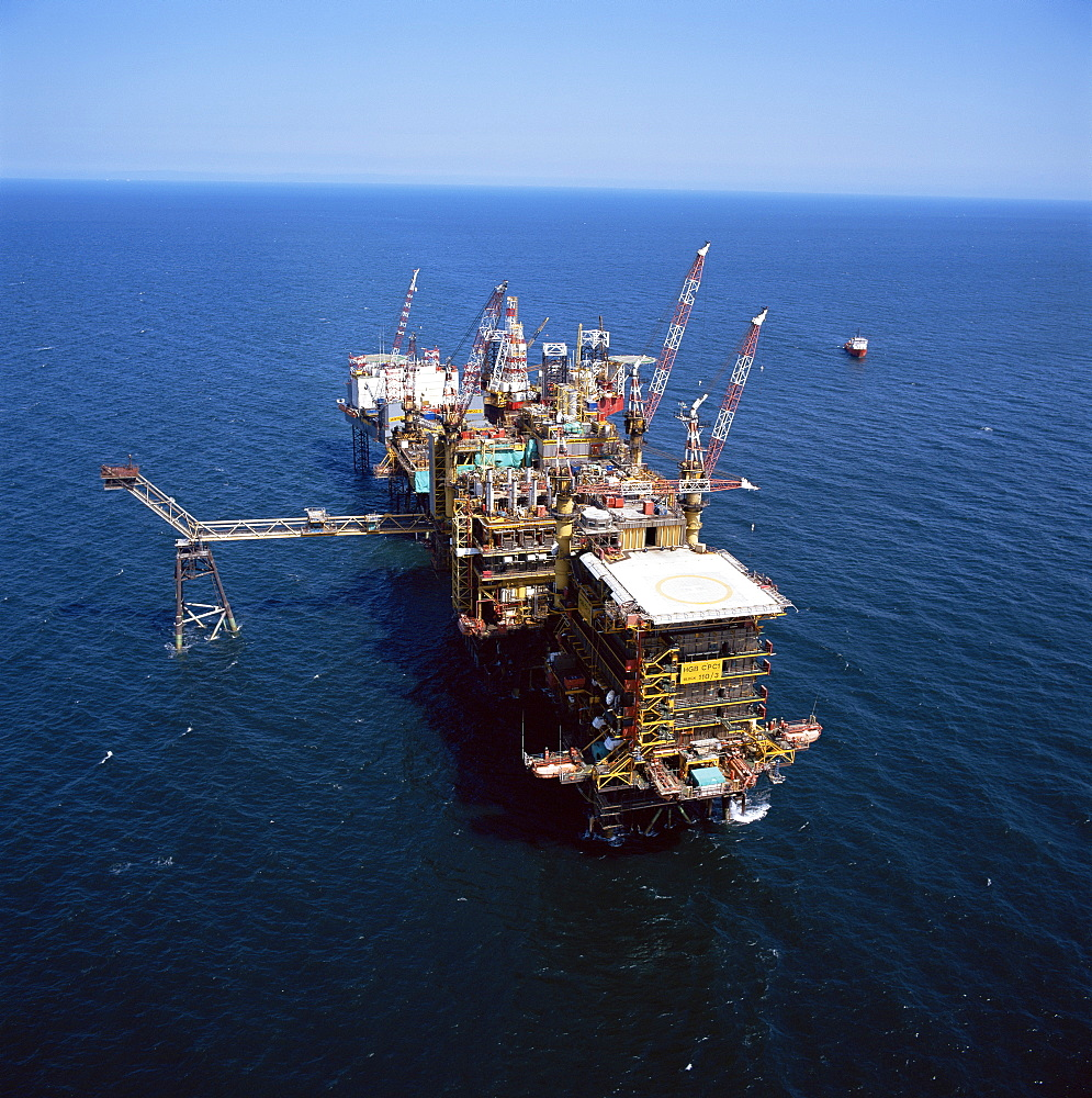 Platform and drill rig, Morecambe Bay gas field, Lancashire, England, United Kingdom, Europe