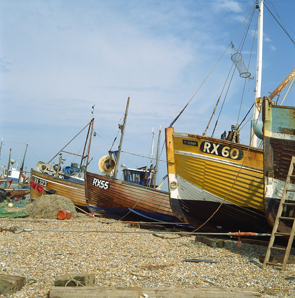 Fishing boats on shingle beach, Hastings, East Sussex, England, United Kingdom, Europe
