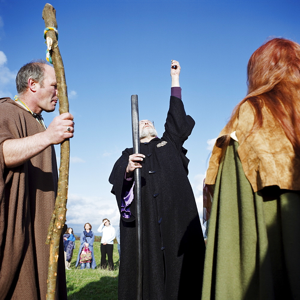 Druid ceremony on the Hill of Tara, County Meath, Leinster, Republic of Ireland (Eire), Europe