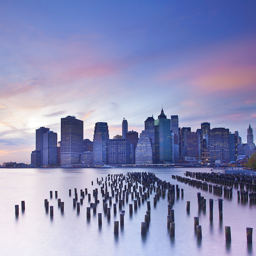 Dusk view of the skyscrapers of Manhattan from the Brooklyn Heights neighborhood, New York City, New York, United States of America, North America - 794-1396