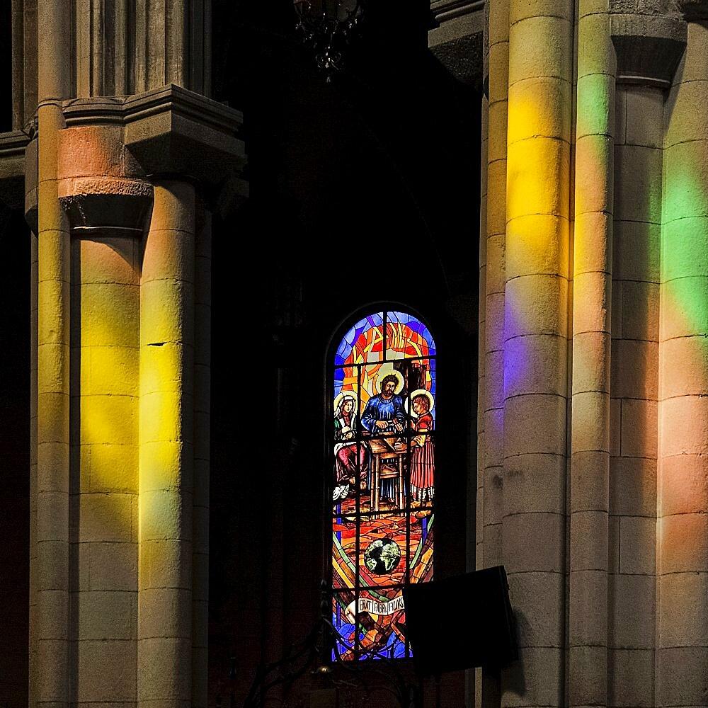 Spain, Madrid, Stained glass window in the Cathedral Santa Maria la Real de La Almudena.