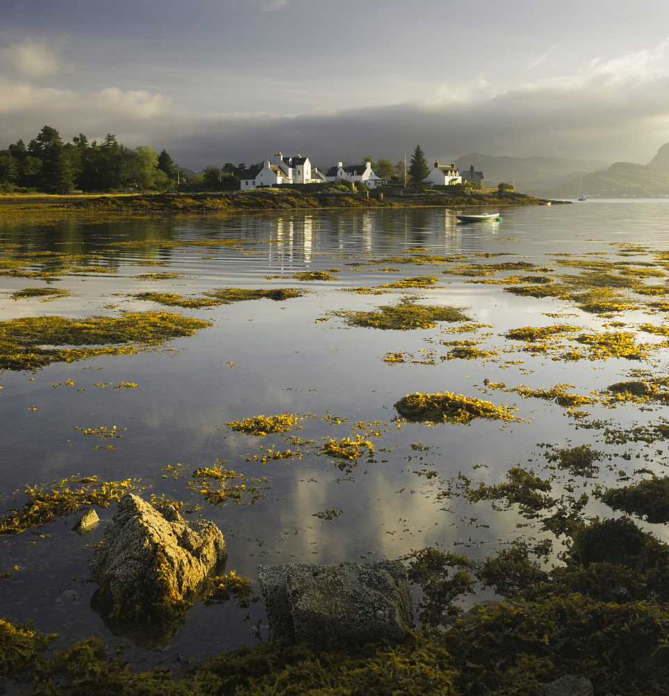 Dawn view of Plockton Harbour and Loch Carron near the Kyle of Lochalsh in the Scottish Highlands, Scotland, United Kingdom, Europe - 803-237
