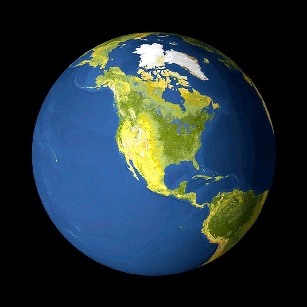 AVHRR satellite image globe of the earth and North America