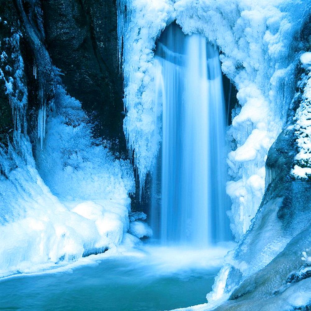 Frozen Hochfall waterfall, near Bodenmais, Bavarian forest, Germany