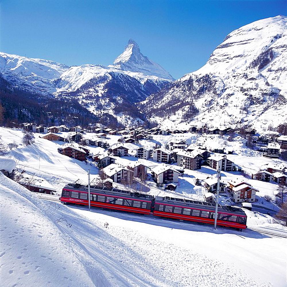 Switzerland, Europe, Matterhorn, Gornergratbahn, Zermatt, Mountain, Mountains, Alps, Alpine, Gornergrat railway, winte. Switzerland, Europe, Matterhorn, Gornergratbahn, Zermatt, Mountain, Mountains, Alps, Alpine, Gornergrat railway, winte