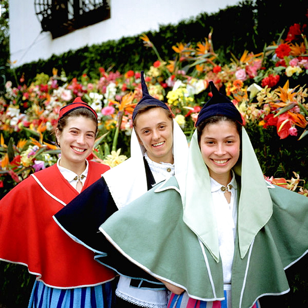 Girls with traditional Madeiran costume, Madeira Island, Portugal