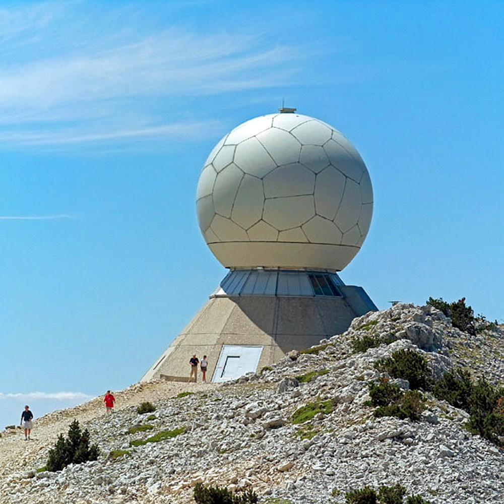 Radar dome at mountain's top, Mont Ventoux, Provence, France
