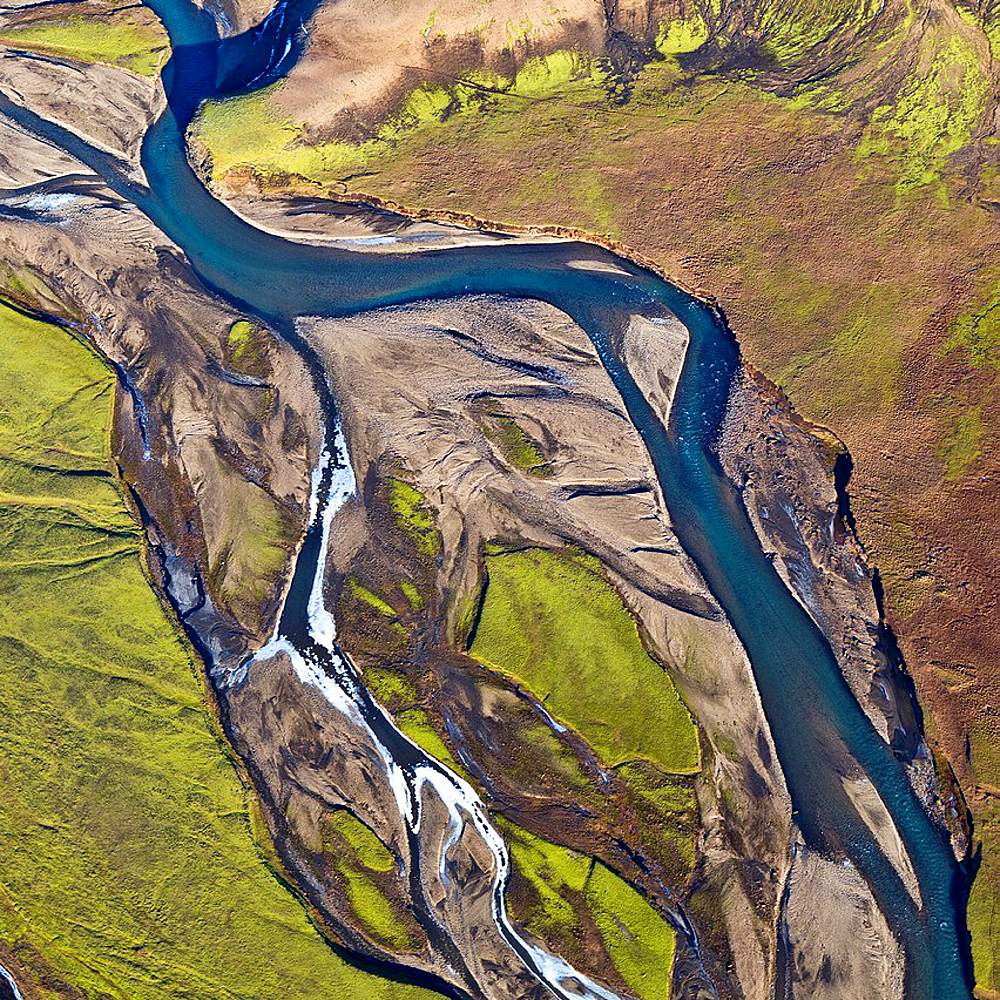 Aerial of riverbeds with moss and mountains, Emstrur Area  Iceland  Region near Katla, a subglacial volcano under Myrdalsjokull Ice Cap - 817-395111