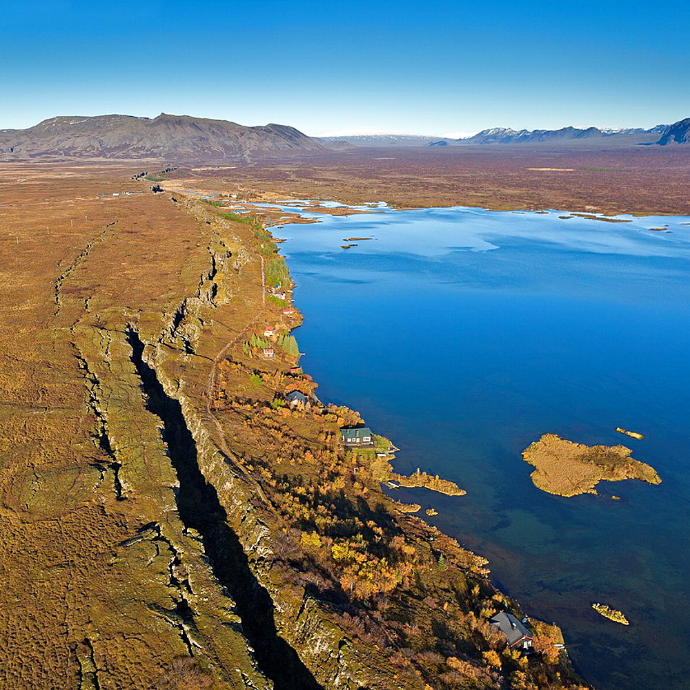 Mid-Atlantic Ridge Fault Line, Lake Thingvellir, Thingvellir National Park Iceland Thingvellir National Park is listed under UNESCO a World Heritage Site