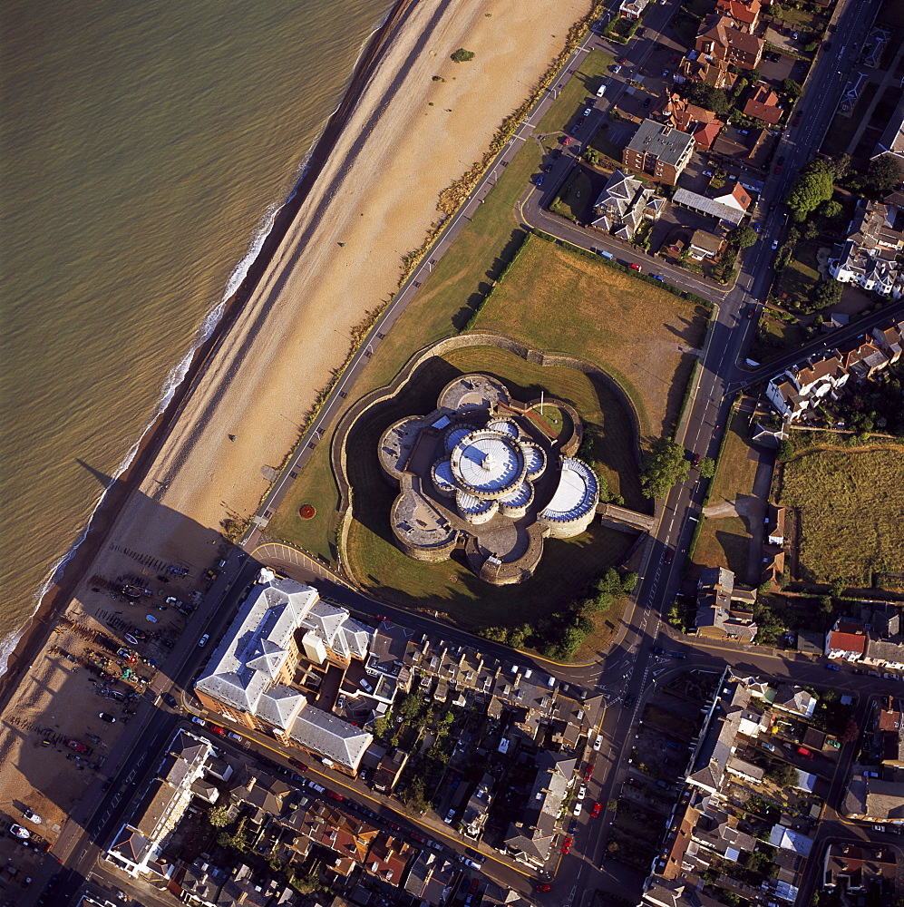 Aerial image of Deal Castle, a Device fort (Henrician Castle) built by Hentry VIII, Deal, Kent, England, United Kingdom, Europe