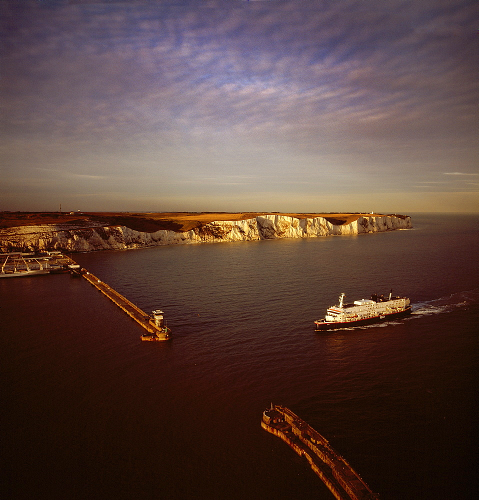Aerial image of Dover Harbour (Port of Dover), with ferry arriving, Kent, England, United Kingdom, Europe