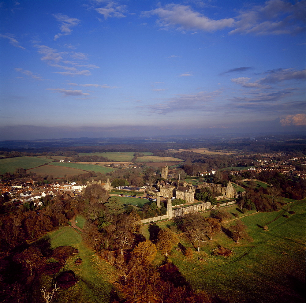 Aerial image of Battle Abbey (St. Martin's Abbey), built on the scene of the Battle of Hastings and dedicated to St. Martin, Battle, East Sussex, England, United Kingdom, Europe