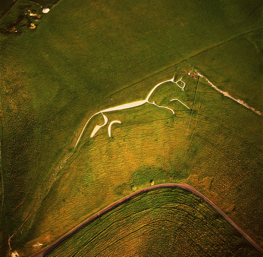 Aerial image of the Uffington White Horse, Berkshire Downs, Vale of White Horse, Oxfordshire, England, United Kingdom, Europe