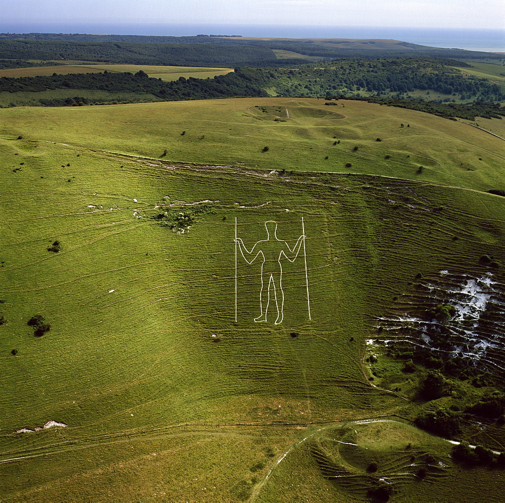 Aerial image of the Long Man of Wilmington, Wilmington, South Downs, East Sussex, England, United Kingdom, Europe