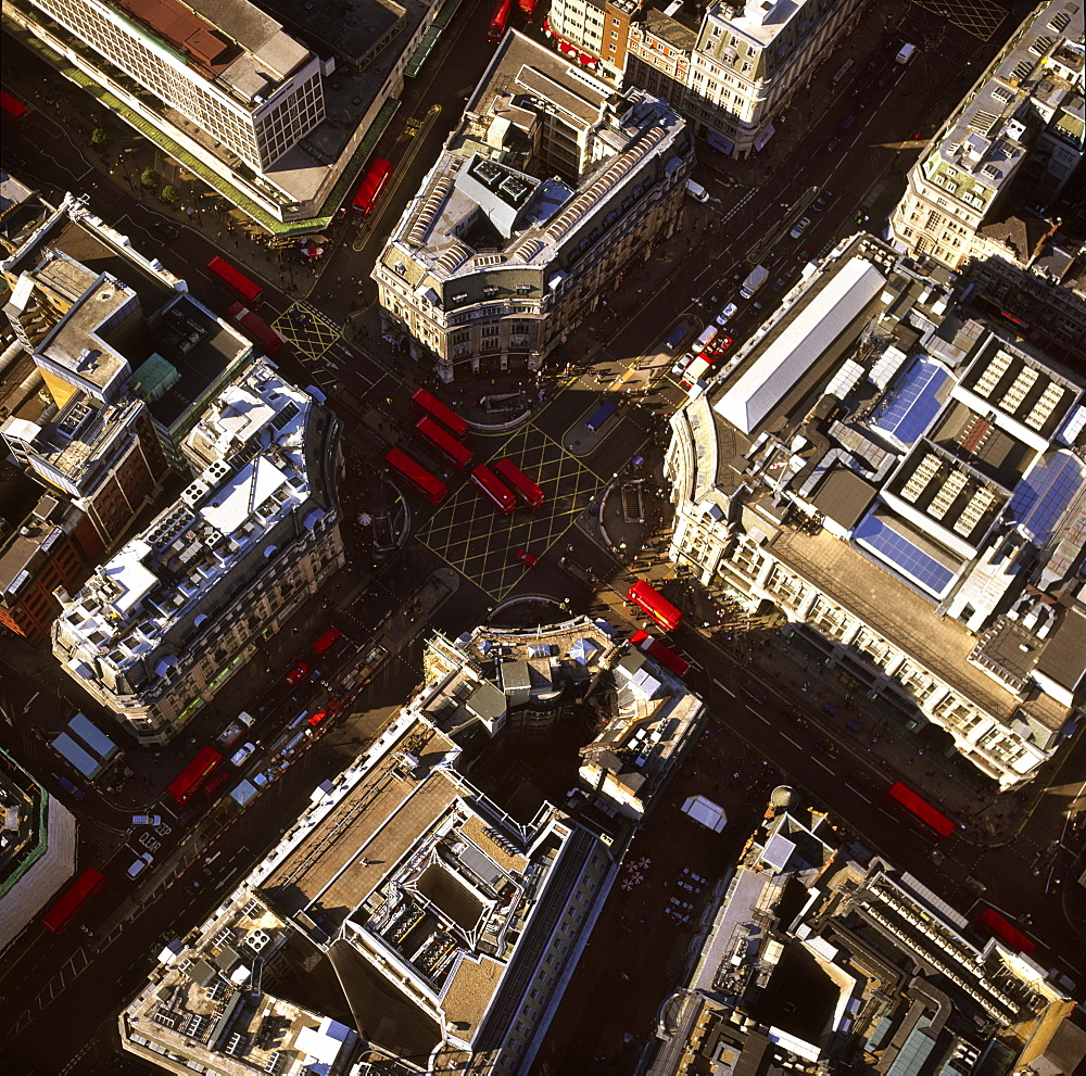 Aerial image of Oxford Circus, a busy intersection of Regent Street and Oxford Street, in the City of Westminster, London, England, United Kingdom, Europe