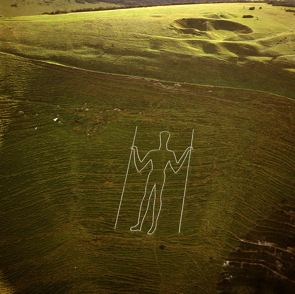 Aerial image of the Long Man of Wilmington, Wilmington, East Sussex, England, United Kingdom, Europe