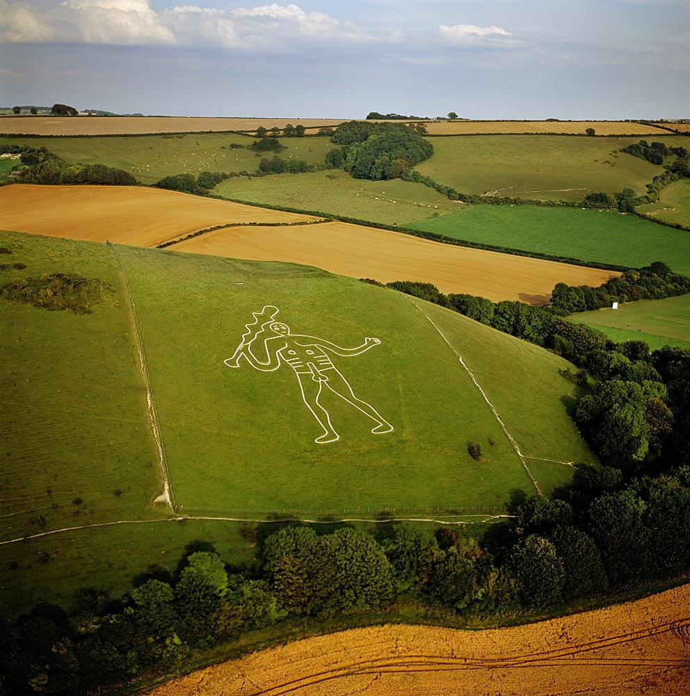 Aerial image of the Cerne Abbas Giant, Cerne Abbas, Dorset, England, United Kingdom, Europe