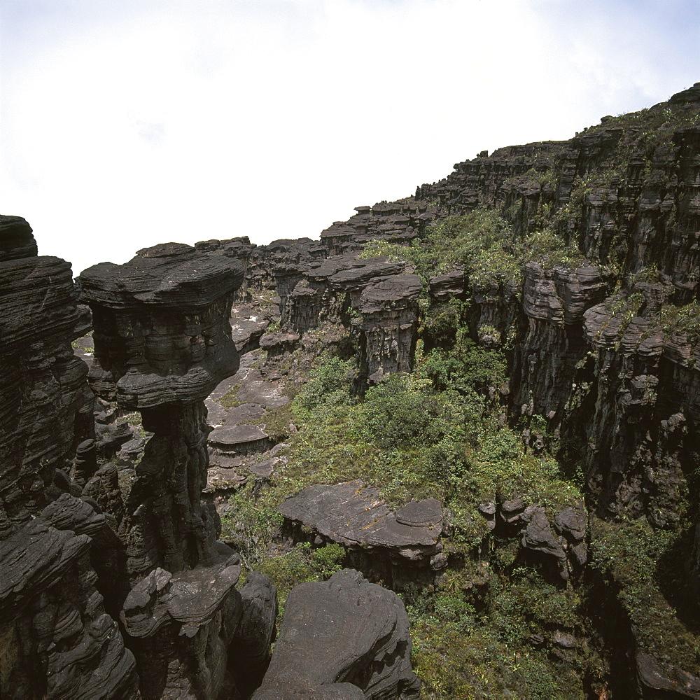 Erosion of sedimentary layers of sandstone near the Great Crack, Summit of Mount Kukenaam (Kukenan) (Cuguenan), Estado Bolivar, Venezuela, South America