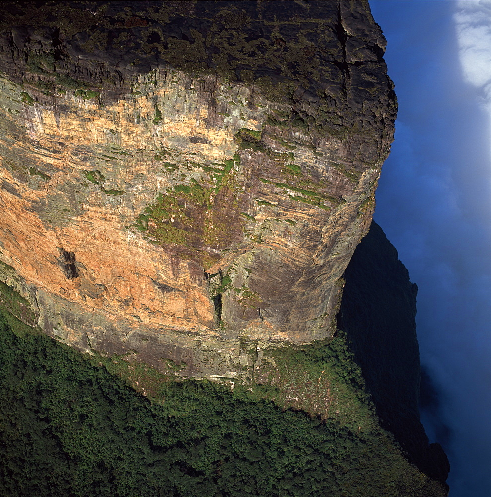 Aerial image of tepuis showing northern prow in the Guyanese sector of Mount Roraima (Cerro Roraima), Venezuela, South America