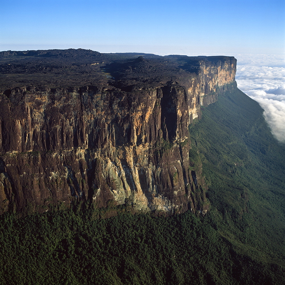 Aerial image of tepuis showing eastern cliff looking towards Brazil and Guyana, Mount Roraima, Venezuela, South America