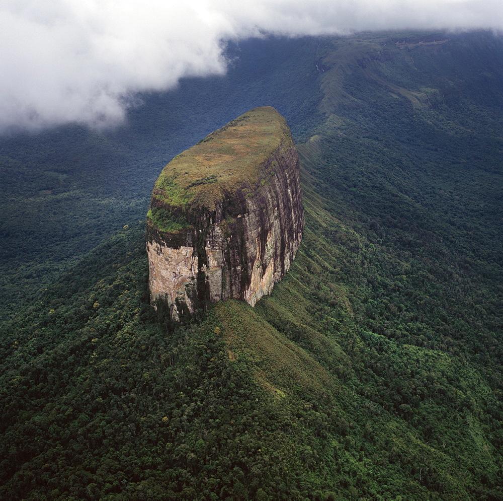 Aerial image of tepuis showing Akopantepui, Gran Sabana, Estado Bolivar, Venezuela, South America