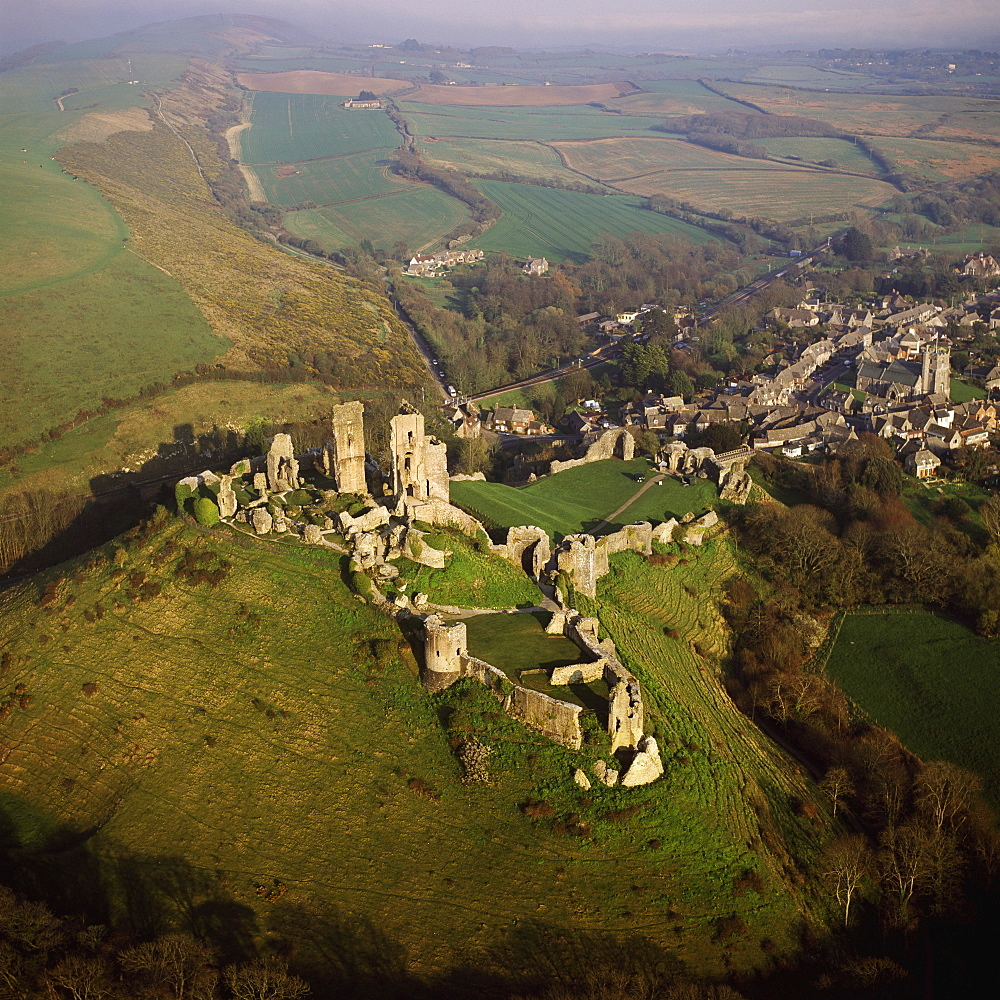 Aerial image of Corfe Castle, Purbeck Hills, between Wareham and Swanage, Dorset, England, United Kingdom, Europe